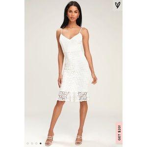 👗 [Lulus] White Lace Skinny Strap Dress